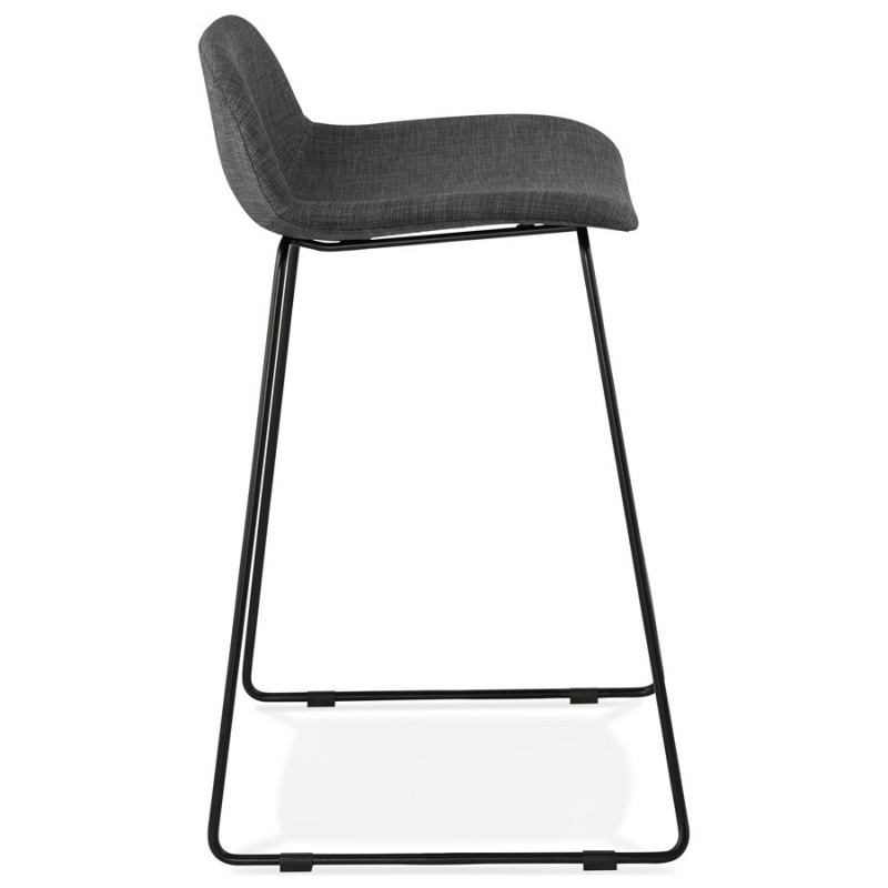 Industrial mid-height bar bar stool in black metal foot fabric CUTIE MINI (anthracite grey) - image 46865