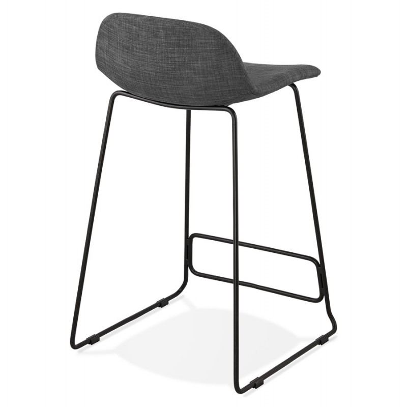 Industrial mid-height bar bar stool in black metal foot fabric CUTIE MINI (anthracite grey) - image 46866