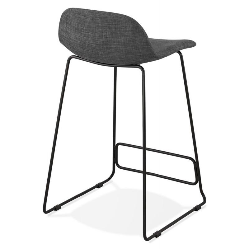 Tabouret de bar mi-hauteur industriel en tissu pieds métal noir CUTIE MINI (gris anthracite) - image 46866