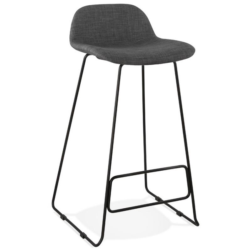 Tabouret de bar chaise de bar industriel en tissu pieds métal noir CUTIE (gris anthracite) - image 46874