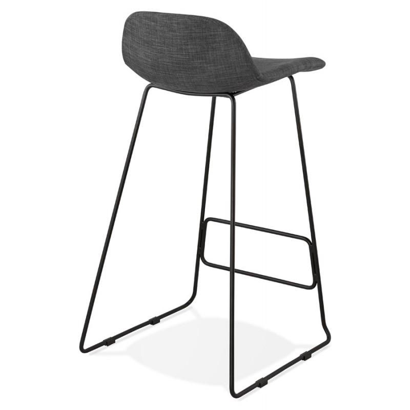 Tabouret de bar chaise de bar industriel en tissu pieds métal noir CUTIE (gris anthracite) - image 46877