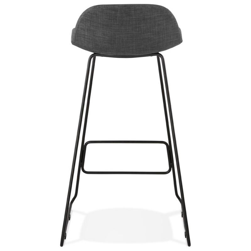 Tabouret de bar chaise de bar industriel en tissu pieds métal noir CUTIE (gris anthracite) - image 46878