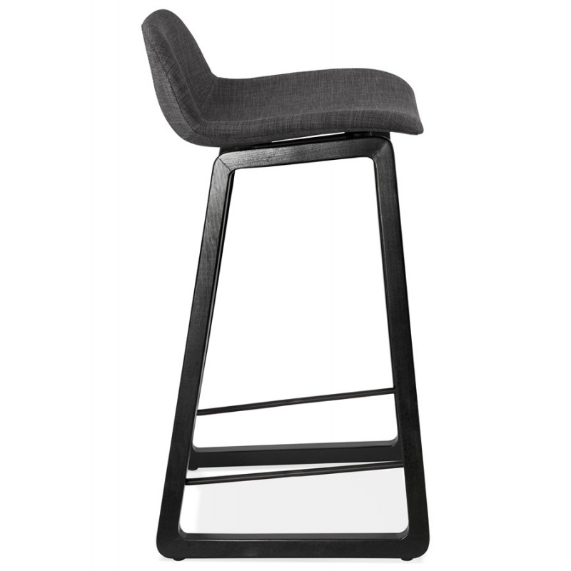 Tabouret de bar mi-hauteur industriel en tissu pieds bois noir MELODY MINI (gris anthracite) - image 46889