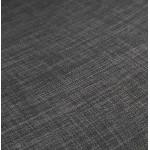 Tabouret de bar mi-hauteur industriel en tissu pieds bois noir MELODY MINI (gris anthracite)