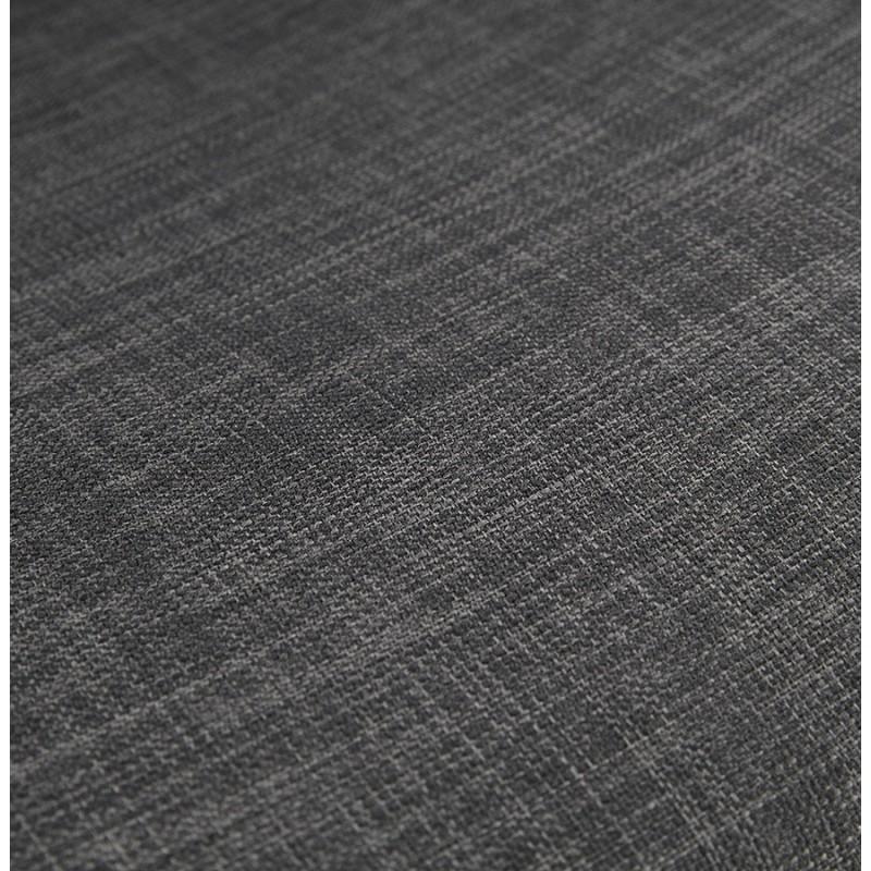 Tabouret de bar mi-hauteur industriel en tissu pieds bois noir MELODY MINI (gris anthracite) - image 46894