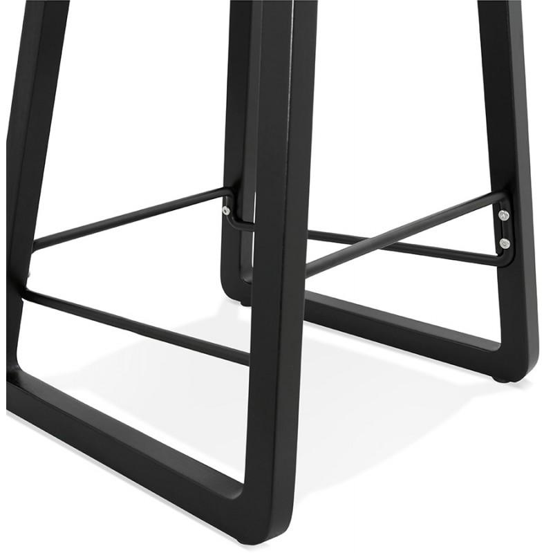 Tabouret de bar mi-hauteur industriel en tissu pieds bois noir MELODY MINI (gris anthracite) - image 46898