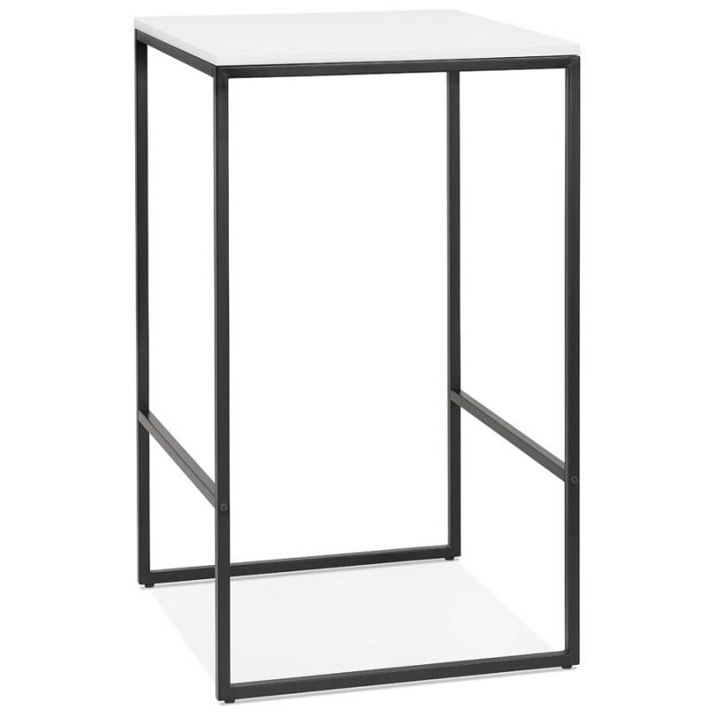 Hoher Tisch aufgesiebt Holzdesign schwarz Metallfüße HUGO (weiß)