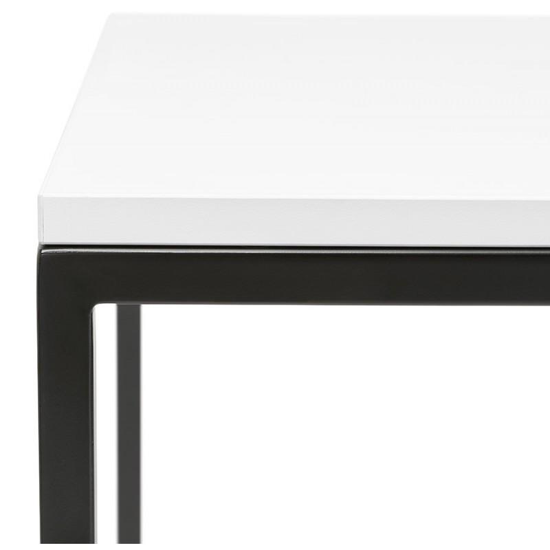 Hoher Tisch aufgesiebt Holzdesign schwarz Metallfüße HUGO (weiß) - image 46999