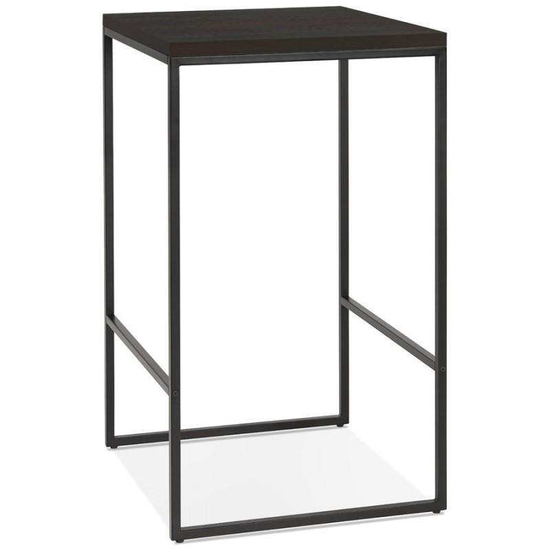 Table haute mange-debout design en bois pieds métal noir LUCAS (wengé) - image 47026