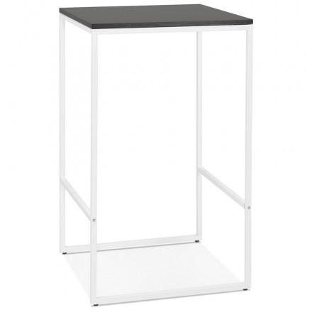 Table haute mange-debout design en bois pieds métal blanc HUGO (noir)