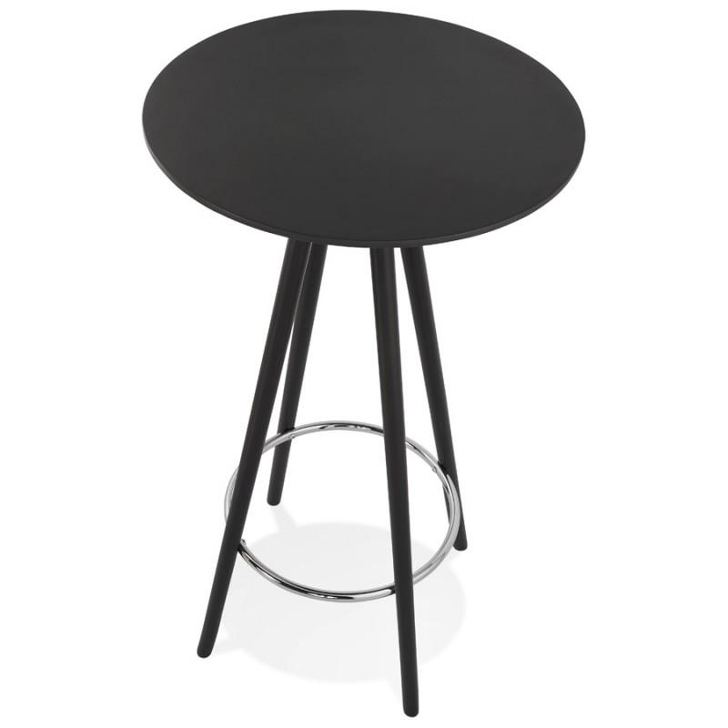 Table haute mange-debout design en bois pieds bois CHLOE (noir) - image 47085