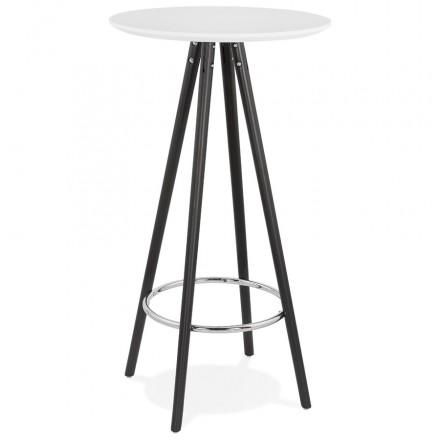 Table haute mange-debout design en bois pieds bois noir CHLOE (blanc)