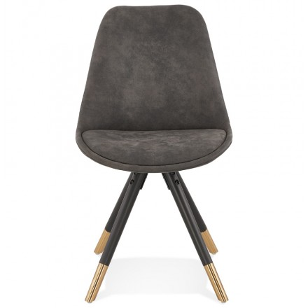 Vintage and retro chair in microfiber black and gold feet SERAPHIN (dark grey)