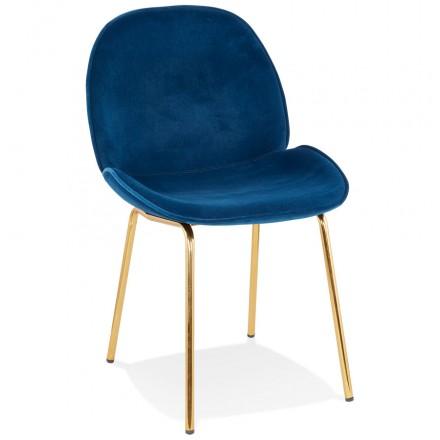 Vintage and retro chair in velvet golden feet TYANA (blue)