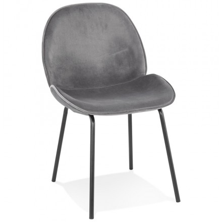 Chaise vintage et rétro en velours pieds noirs TYANA (gris foncé)