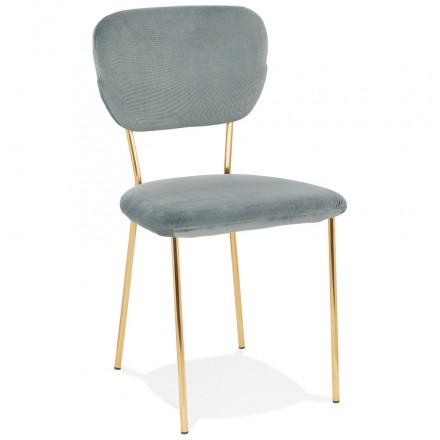 Vintage and retro chair in velvet golden feet NOALIA (light grey)