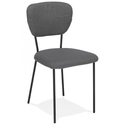 Chaise vintage et rétro en tissu pieds noirs NOALIA (gris foncé)