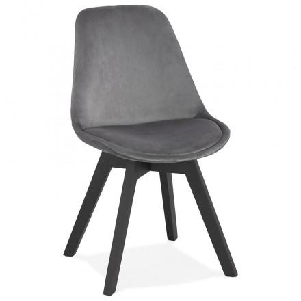 Silla vintage e industrial en terciopelo negro pies LEONORA (gris oscuro)