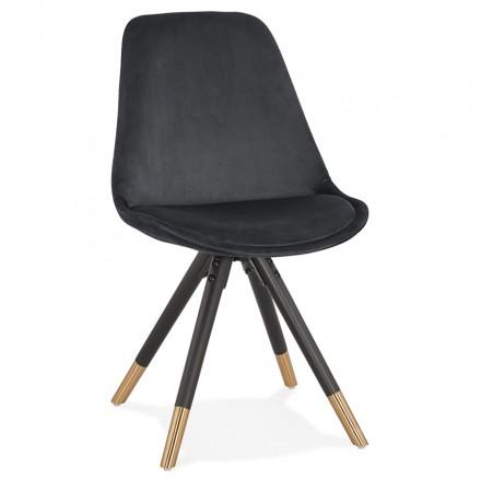 Chaise vintage et rétro en velours pieds noirs et dorés SUZON (noir)