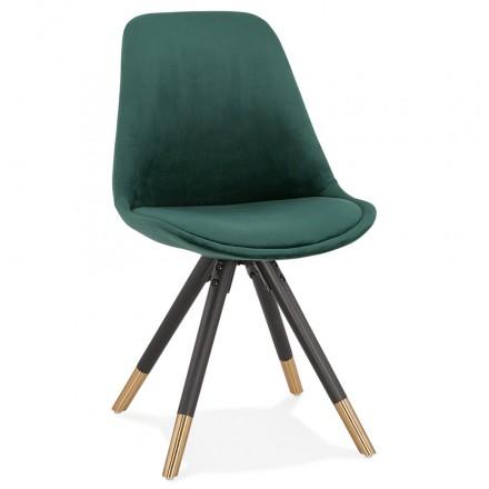 Chaise vintage et rétro pieds noirs et dorés SUZON (vert)