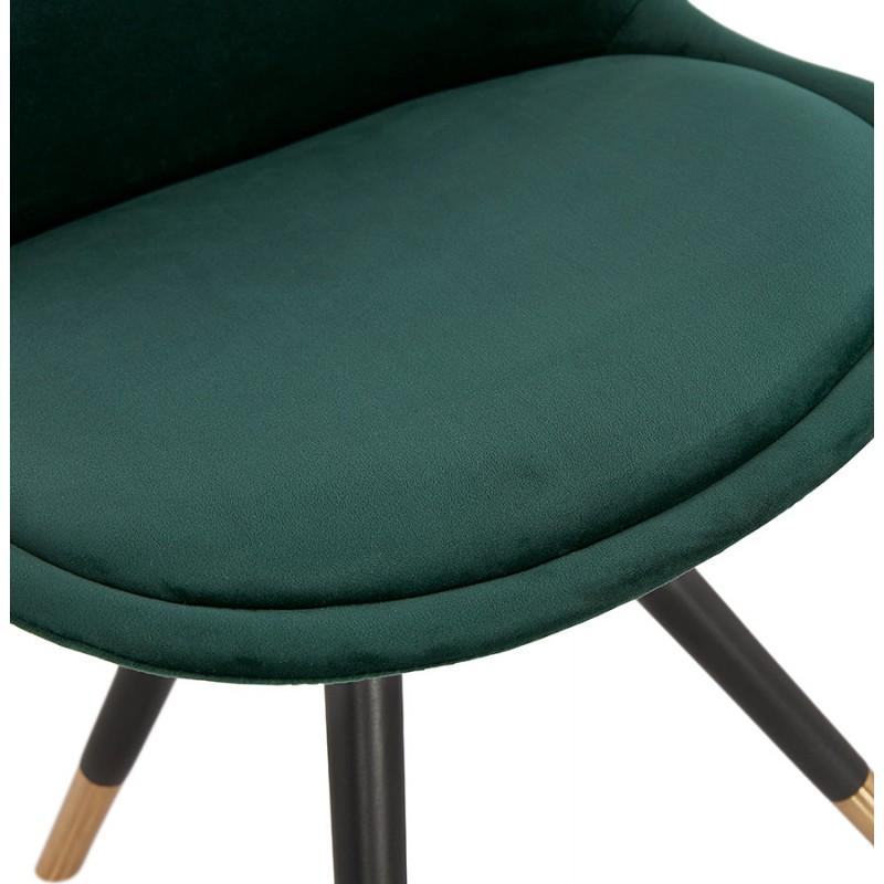 Chaise vintage et rétro pieds noirs et dorés SUZON (vert) - image 47462