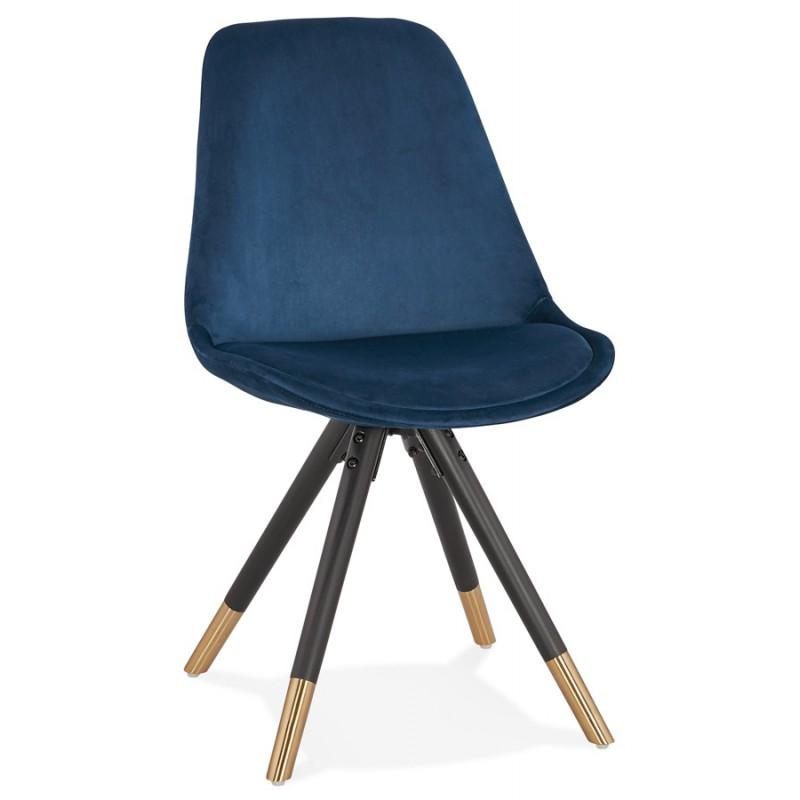 Chaise vintage et rétro en velours pieds noirs et dorés SUZON (bleu)
