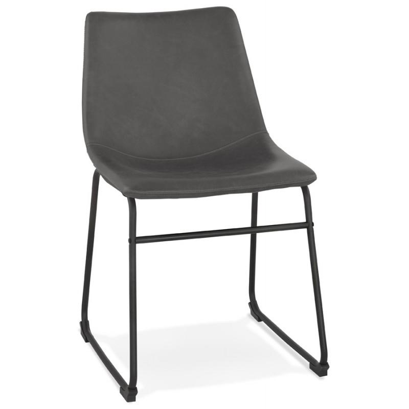 Chaise vintage et industrielle pieds métal noir JOE (gris foncé) - image 47468