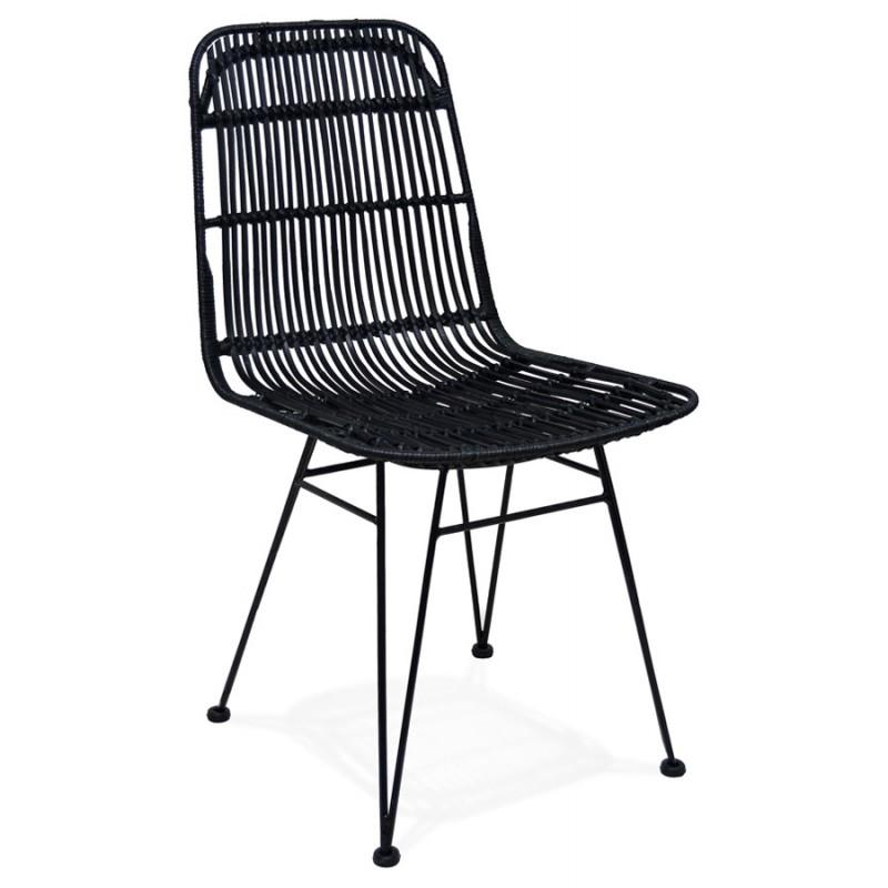 Chaise design et vintage en rotin pieds métal noir BERENICE (noir)