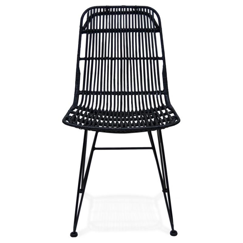 Chaise design et vintage en rotin pieds métal noir BERENICE (noir) - image 47478