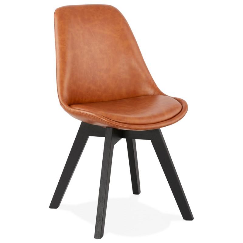 Chaise vintage et industrielle pieds bois noir MANUELA (marron) - image 47484