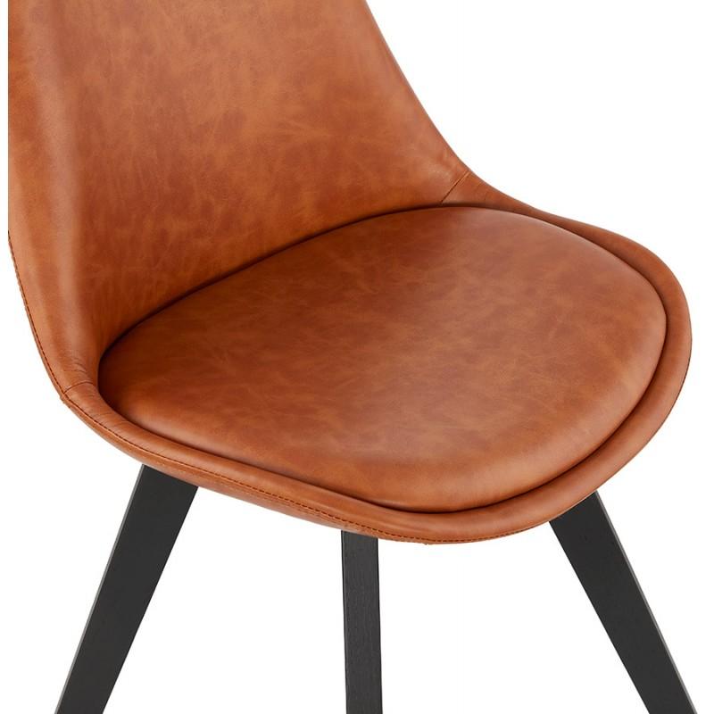 Chaise vintage et industrielle pieds bois noir MANUELA (marron) - image 47489
