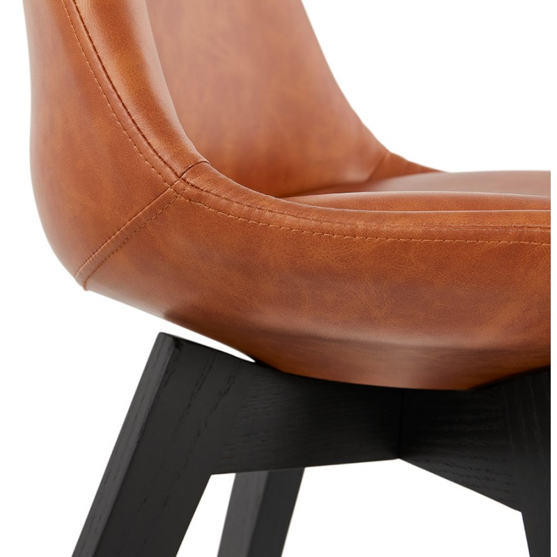 Chaise vintage et industrielle pieds bois noir MANUELA (marron) - image 47492