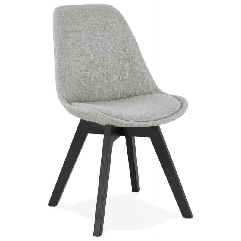 Chaise design en tissu pieds bois noir NAYA (gris) - image 47495