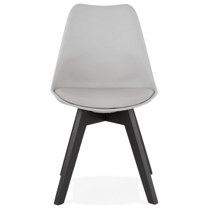 Chaise design pieds bois noir MAILLY (gris) - image 47503