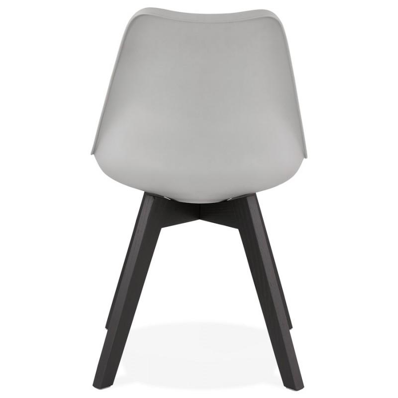 Chaise design pieds bois noir MAILLY (gris) - image 47506