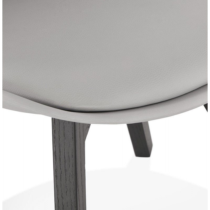 Chaise design pieds bois noir MAILLY (gris) - image 47508