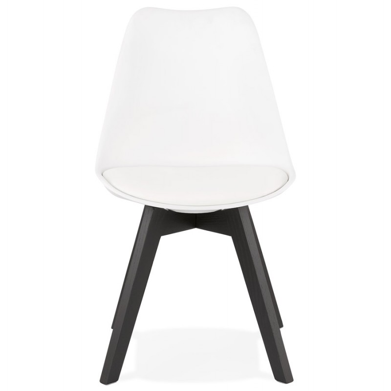 Chaise design pieds bois noir MAILLY (blanc) - image 47514