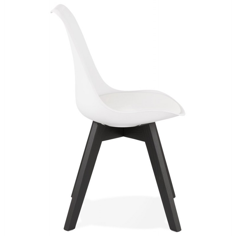 Chaise design pieds bois noir MAILLY (blanc) - image 47515