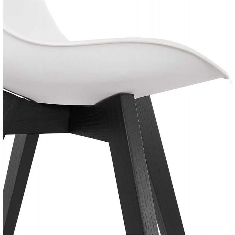 Chaise design pieds bois noir MAILLY (blanc) - image 47520