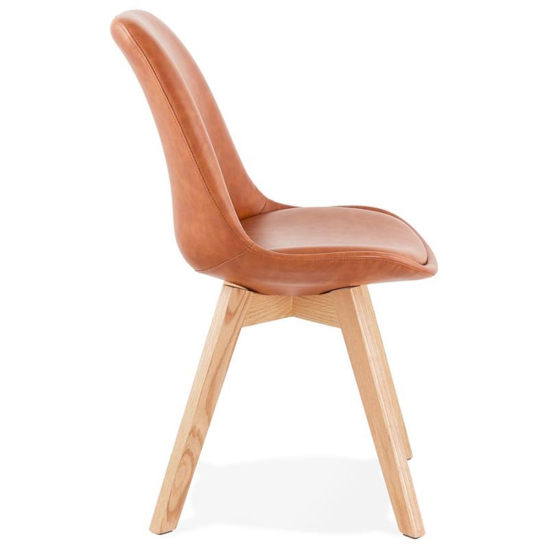 Chaise vintage et industrielle pieds bois finition naturelle MANUELA (marron) - image 47537