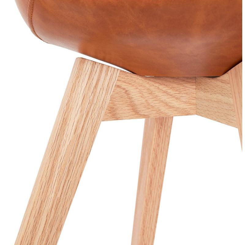 Chaise vintage et industrielle pieds bois finition naturelle MANUELA (marron) - image 47543