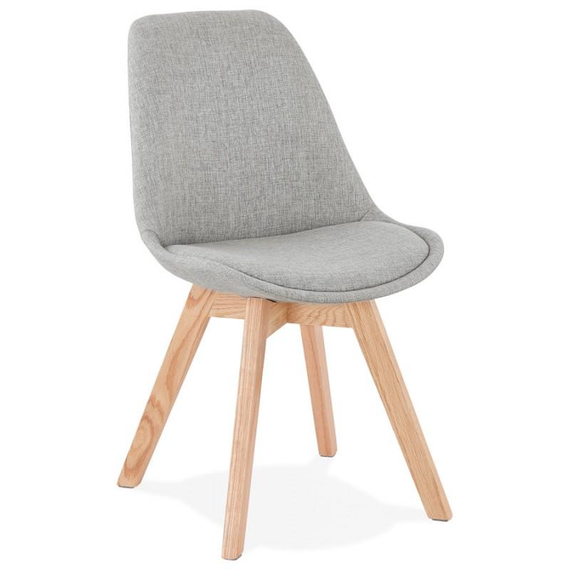 Chaise design en tissu pieds bois finition naturelle NAYA (gris)