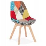 Chaise bohème patchwork en tissu pieds bois finition naturelle MARIKA (multicolore)