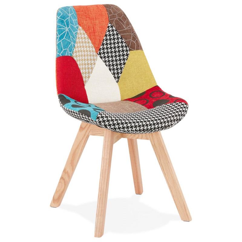 Chaise bohème patchwork en tissu pieds bois finition naturelle MARIKA (multicolore) - image 47550