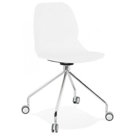 MarianA chrome metal foot desk chair (white)