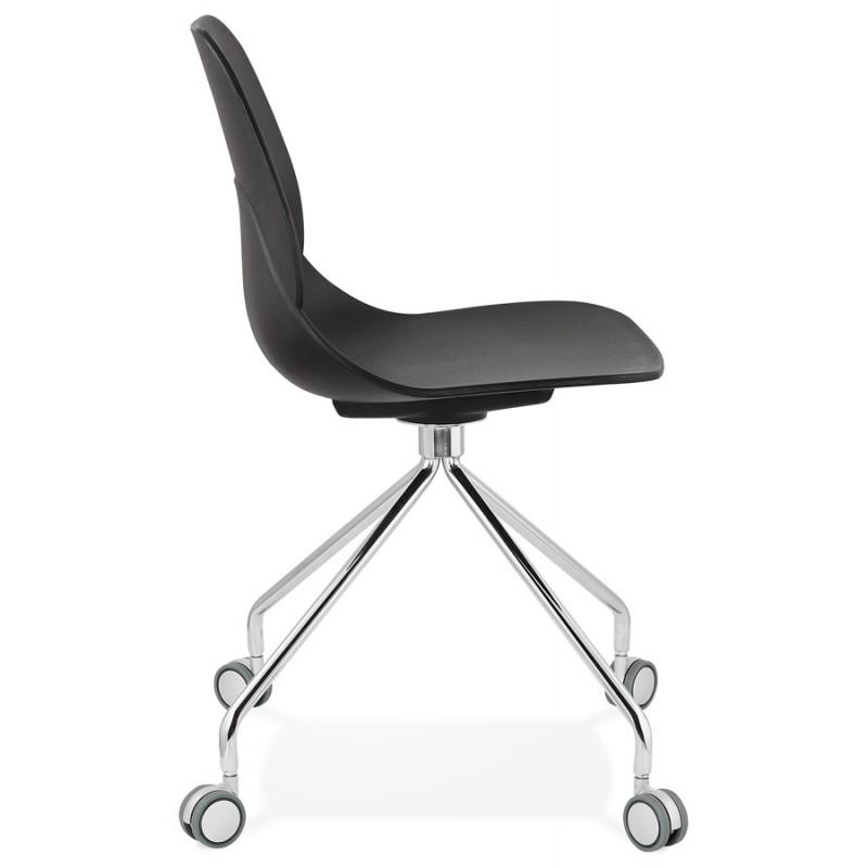 Chaise de bureau sur roulettes pied métal chromé MARIANA (noir) - image 47569
