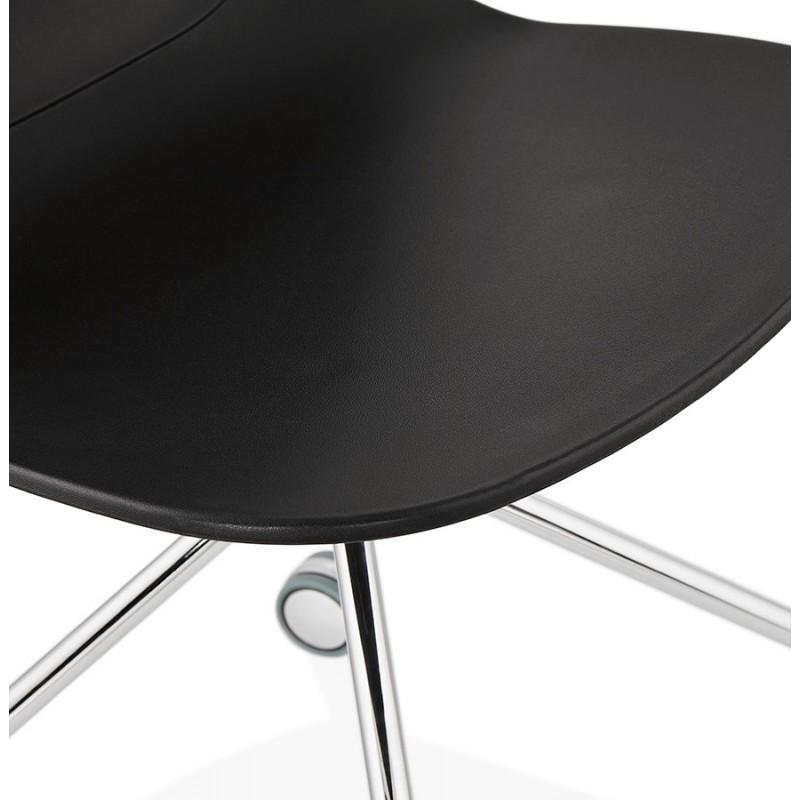Chaise de bureau sur roulettes pied métal chromé MARIANA (noir) - image 47573