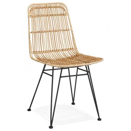 Design Stuhl und Vintage Rattan Füße schwarz Metall BERENICE (natürlich)