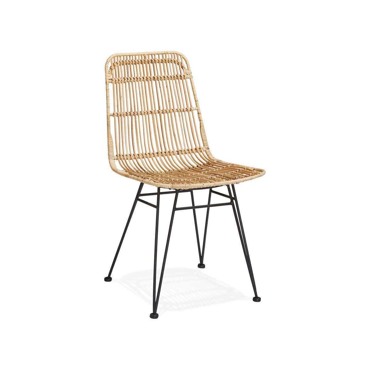 Design Stuhl Und Vintage Rattan Fusse Schwarz Metall Berenice Naturlich Amp Story 6881