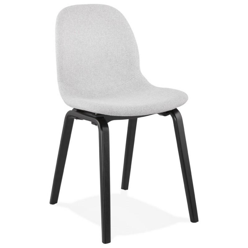 Chaise design et contemporaine en tissu pieds bois noirs MARTINA (gris clair) - image 47613
